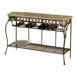 Hillsdale Furniture - Hillsdale Brookside Fossil Server - Our Brookside collection features the lustrous depth and beauty of fossil stone and the classic effect of transitional designs. A thick patterned ivory colored fossil stone veneer graces the sturdy  metal bases on the occasional tables and buffet.