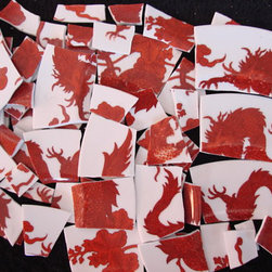 Red Dragon Asian Mosaic Tiles, Fitz and Floyd Plate Pieces by CoCoMo - These 80 tiles cut from vintage Fitz & Floyd red dragon plates would make an amazing DIY project. Any ideas?