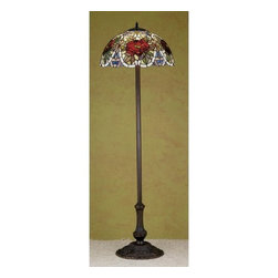 Meyda Tiffany - Meyda Tiffany 27601 Stained Glass / Tiffany Floor Lamp Renaissance Rose - Copperfoil CollectionFloor Lamp3 Medium base bulbs, 60w (max)