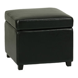 Cortesi Home - Massimo Storage Cube Ottoman, Jey Black - The Massimo storage cube ottoman in Jet Black bonded leather is a stylish and functional accent piece. It features a solid wood frame and a padded top for comfortable seating. Underneath its safety hinged top is an ample storage space.