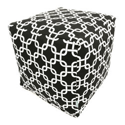 Majestic Home - Outdoor Black Links Small Cube - Versatile, casual and fun, beanbag ottoman cubes are great to have around the house for all kinds of impromptu uses, from footstools to extra seating to side tables. With its playful modern style and durable, washable cover, this small patterned cube should work for you just about anywhere you need it, indoors or out. You'll wonder what you ever did without it.