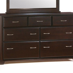 Night & Day Furniture - Large Dresser in Dark Chocolate Finish - Seve - Popular dark finish turns any bedroom into a retreat. This large dresser adds sophistication along with seven drawers for all your storage needs. Solid wood construction in built to last. Drawer faces are beveled for interest. Silver-tone handles for modern appeal. 100% Malaysian Rubberwood construction. Shown in Dark Chocolate. 33 in. W x 66 in. D x 20 in. HThe Juniper Cases are built strong, solid and handsome. Very cool with their beautiful beveled drawer faces and squared trim. The Juniper 7-Drawer Dresser, with optional mirror, is the king of our dresser group. Tall and handsome, with tons of good storage.