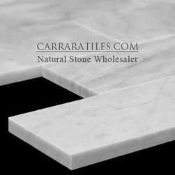 Carrara Marble Italian White Bianco Carrera 3x6 Marble Subway Tile Polished - Bianco Carrara 3x6 Marble Subway Tile is also known as White Carrera 3x6 Marble Subway Tile.  Premium grade 3x6 marble subway tile is perfect for both residential and commercial projects.  3x6 Marble Subway Tiles are mainly preferred as floor tiles for their clean, aesthetic qualities.  A large selection of coordinating products are available, including Carrara basketweave mosaics, Carrara herringbone mosaics, Carrara hexagon mosaics, 3x6 marble subway tiles, 12x12 Carrara marble tiles, 4x4 Carrara marble tiles, Carrara borders, Carrara moldings and Carrara baseboards, each available in honed, polished and tumbled finishes.