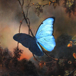 "overstockArt.com - Heade - Blue Morpho Butterfly - This is a remarkable oil painting reproduction of a Martin Johnson Heade original ""Blue Morpho Butterfly."" Originally painted in 1864. Today it has been reproduced with exceptional use of color, detail and brush strokes. This oil painting has a delightful setting that is sure to bring many admirers. Martin Johnson Heade was a prolific American painter known for his salt marsh landscapes, seascapes, portraits of tropical birds, as well as lotus blossoms and other still life images. His painting style and subject matter, while derived from the romanticism of the time, Heade's work was not widely known during his life time. However, his work did attract scholars, art historians, and collectors during the 1940s. He quickly became recognized as a major American artist."