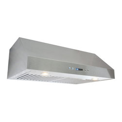 "Cosmo - 30"" Stainless Steel Under Cabinet Range Hood with Baffle Filters - This modern European style range hood features a fully stainless steel body with steel baffle filters that are dishwasher safe, so you never have to replace them. With dual motors that perform at a capacity of 760 cubic feet per minute, it can handle heavy ventilation tasks. This range hood brings the benefits of style, value, and performance into your kitchen."