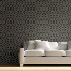 """Stencil Ease - Wallace Wall Painting Stencil - Actual Size 16 wide x 18.4"""" high on a 19.5"""" x 19.5"""" plastic stencil sheet - production sizes also available. The Wallace stencil is a Traditional Geometric style pattern in an all-over pattern. You can add this all-over pattern to any room, design project or diy project. Try stenciling on Furniture, lamp shades, fabric, walls, floors."""