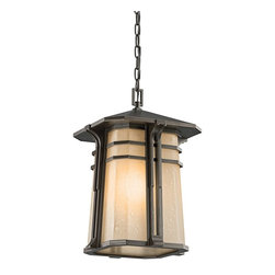 BUILDER - BUILDER 49180OZ North Creek Arts and Crafts/Mission Outdoor Hanging Light - The North Creek collection focuses on the comfortable and warm feel of cottage design. The gently tapered Light Umber etched seedy glass, shallow pitched roof line and the parallel rings in Olde Bronze shout mission.For additional chain order KCH-4927-OZ