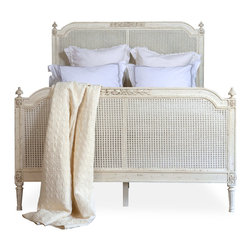 Eloquence - Blanka French Country White Washed Elegant Caned Queen Bed - Bring a little country living to your city dwelling with this French-style bed. Sleep in this bed and you'll expect the smell of eggs, bacon and coffee every morning you wake up, as if you were at your own personal farmhouse. Enjoy the living!