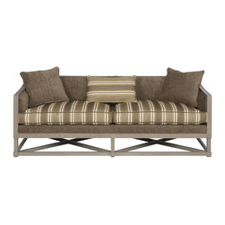 Vanguard Living Room Sofa 9009-S - This low-backed sofa is a great choice when you want to keep a clear view behind it. Thom Filicia used one in his lake house to keep a clear view to the lake views out the windows behind the sofa.