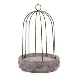 Imax - Elegant and Beautiful Gray Theobald Short Wire Cloche and Base Decor - Filled with beautiful floral or small aviary accents, the Theobald small wire cloche adds rustic elegance and personality to any home.