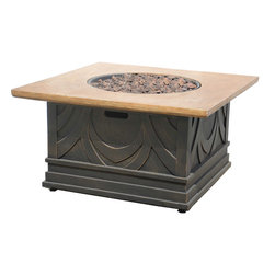 None - Avila Gas Fire Table - The impression of drapery carved in stone gives this gas fire table a Romanesque quality which your guests will admire in the comfort of a blazing fire. A centerpiece of classical beauty,this Avila fire table offers warm conversations on chilly evenings.