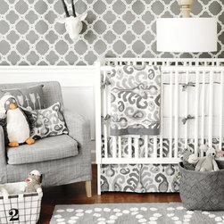 New Arrivals Inc. - Urban Ikat in Gray Crib Bedding Set - Urban Ikat in Gray Crib Bedding Set