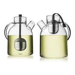 """Tea Kettle by NORM Architects - The Kettle Teapot, designed by Norm Architects blends Asian Zen philosophy with modern Scandinavian design. Made of clear glass, which allows you to see the brewing process this unique tea pot also comes with a built-in tea steeper made of stainless steel and attaches to the lid with a silicon """"string."""" When your tea is done brewing, pull the steeper up and secure it to the inside of the lid, creating an easy, and no mess way to brew tea."""
