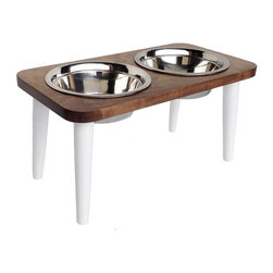 Wood Stool Dog Diner, White, Small - Reminiscent of an antique stool, our wooden two dish diner will keep your dog's food and water bowls at a comfortable height of 6 or 12 inches.  We love the white stool legs paired with a Natural American Maple table top.