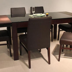 Extendable Wood and Glass Top Designer Modern Dining Room