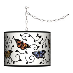 Giclee Gallery - Swag Style Butterfly Scroll Shade Plug-In Chandelier - A lovely, nature inspired print makes this easy plug-in swag light a delightful choice. Add instant style and glamour with this swag chandelier. Plug in to any standard wall outlet, then hang the cord on included the swag hooks. Drape the cord as desired. The lamp features a brushed silver finish spider fitting and a silver cord. In-line on-off switch controls the lights. Includes swag hooks and mounting hardware. U.S. Patent # 7,347,593.