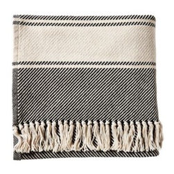 Serena & Lily - Banded Herringbone Throw Black - With its dreamy drape, this cozy throw will be a fast favorite. Bookended by stripes in contrasting ivory and detailed with a knotted fringe, the look is timeless. Each is handcrafted at one of our favorite mills in Maine.