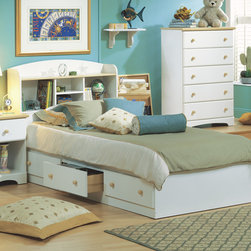 South Shore - Newbury Twin Mates Bookcase Bed - South Shore's stylish and family-friendly furniture is made of laminated engineered wood, which gives it great strength and durability. They use wood panels entirely made from recovered and recycled material. While they do their share to preserve the environment by conserving our forests, South Shore Industries makes no compromise when it comes to quality and product durability. These quality products are designed for easy maintenance and offered at very competitive prices. Features: -Includes twin size bed box and matching bookcase headboard only - other pieces sold separately. -Bookcase headboard features 4 storage nooks and full shelf. -Constructed of particleboard with a laminate finish. -Assembly required. -Wooden drawer knobs have Maple finish. -5-year manufacturer's limited warranty. -Please Note: Optional Serta Mattress ships separately from bedroom furniture, and may arrive for delivery on an earlier or later date than bedroom furniture. Mattress Features: -Twin size mattress. -Ideal for Loft beds. -FireBlocker® Insulator system helps block the spread of flames to allow for extra escape time in the event of a fire. -1 year warranty against manufacturers defects: no flip, no rotate, non-prorated. -Dimensions: 38 W x 75 L. About South Shore Industries: South Shore Industries Ltd. brings over 65 years experience to the manufacturing of its furniture products and boasts a highly skilled production team with an eye for detail. A recognized leader in North American furniture manufacture, South Shore Industries was established in 1940 and has been making furniture for three generations. Employing a team of over 1000 employees in three factories in Quebec, their assembled and ready-to-assemble furniture has a reputation for quality and excellence at affordable prices for today's family. About Serta Serta's consistent commitment to innovation, quality and service has paid off. Over the past decade, Serta has expanded its mattress line and become the fastest growing manufacturer in the country. For more than 70 years, Serta has consistently made investments into innovative features to ensure the comfort and durability of every mattress they sell.