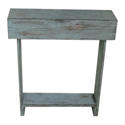 Skinny Wall Table - This table is the perfect size to go right by the door at any entry way or even in a hallway to display a special picture or decor piece. Choose from a variety colors from our shop. Each painted piece has a distressed finish to offer a rustic warmth. It measures 26W x 6D x 30H but can be custom made to fit any space. Remember, each piece is custom made by hand so no two pieces will ever be exactly alike.