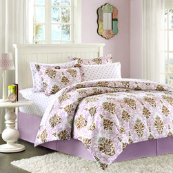 None - Mizone Justine Twin-size 2-piece Comforter Mini Set - This fun mini set with printed damask pattern will lighten up a girl's room and make it easy to accessorize. The purple and brown colored pattern is printed onto a peached polyester fabric for the top of bed and single sham.