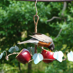 Songbird Essentials - Oriole Fruit Feeder - Two copper fruit spirals are encircled by copper perches adorned with 6 copper ivy leaves. Very popular as a gift item.