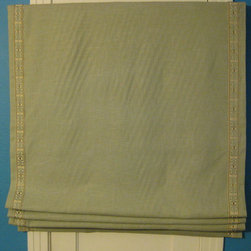 """Roman Shades - 36x82"""" Flat roman shades in french blue linen with decorative tape down edges and cotton lining. There are 5 of these and one smaller for a door window."""