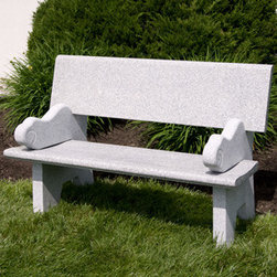Polished Gray Granite Bench with Swirl Design - Accent your patio or garden area with this beautiful granite bench. Featuring a mixture of Polished and Natural Gray granite, this bench will last for many years to come.