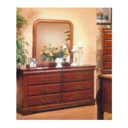 Alpine Furniture - Louis Philippe I Dresser w Mirror - Dresser with eight drawers. Metal knelling rails at bottom. 1 in. mirror frame thickness. Six months warranty. Made from rubber wood solids with select veneer. Cappuccino finish. Dresser: 64 in. W x 17 in. D x 35 in. H. Mirror: 36 in. W x 40 in. H