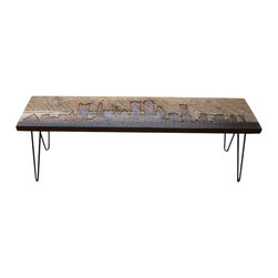 Urban Wood Goods - Boston Reclaimed Wood Bench - Boston reclaimed wood bench features the Boston skyline etched into the top and accented with modern mid-century style hairpin legs. Each Boston skyline bench is made of a single board of salvaged old growth Douglas Fir from a century old barn or building in the midwestern USA. Sustainable urban living accent pieces for home or business.