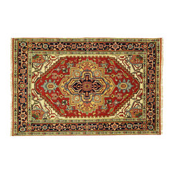 Manhattan Rugs - Iran Art Design Antiqued Serapi Persian 4'x6' Hand Knotted Heriz Wool Rug H3972 - Heriz is situated in the northwestern part of Iran (Persia). Though the term covers Hand knotted rugs of numerous small villages in the area, the most beautiful Rugs were woven in Heriz itself For the last 100 years, the Heriz carpet designs have basically remained the same, with only small variations in color pallets and density of the design. The late 19th Century Rug (so called Serapis) was of fewer details and softer colors and with time designs became denser with added jewel tone color pallets. The revival of the carpet industry in the late 19th Century was based on the demand of the Western markets, with America in particular. Weavers in Heriz hand knotted were asked to make carpets inspired by the Fereghan Sarouks of higher cost for consumers of more limited budgets. Even though Sarouk carpets changed style later on, Heriz weavers stayed with the geometric pattern till now. However, Heriz was also a center of production of some of the best handmade carpets with both geometric and curvilinear floral patterns. A special heirloom wash produces the subtle color variations that give rugs their distinctive antique look.