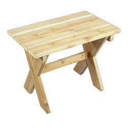 Rustic Natural Cedar - Rustic Natural Cedar 400409 Small Rectangular Wood Table - The classic-style rectangle table is just the right size for sharing. Place it between two chairs and youll both have a place to set your lemonade. Smooth-sanded and ultra-lightweight, this table is easy to pick up and take with you when the sun starts to move. It can even double as impromptu seating if an extra joins the party. Cedar is naturally resistant to decay, insect, and weather damage and, when left untreated, the creamy natural color weathers gracefully to a silvery grey.