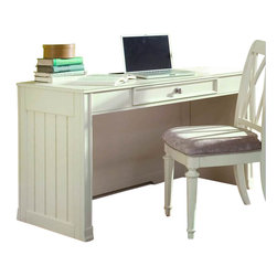 American Drew - American Drew Camden Desk in Buttermilk - American Drew-Computer Desks-920595-The American Drew Camden Collection accents simple forms with quiet traditional references gentle curves and a beautiful time worn buttermilk finish that lets the character of the wood show through. The brushed nickel finish hardware adds even more casual elegance to Camden. This collection will work great in an urban chic setting classic antique or beach cottage get-away. The Camden Desk has a casual and elegant design that features an ample working surface.