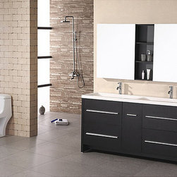 Design Element - Design Element Perfecta Modern Double Sink Bathroom Vanity Set - This stunning Perfecta modern double sink vanity will be the centerpiece of bathroom. With a black wood cabinet base, four drawers and one cabinet, this contemporary vanity has a bold design.