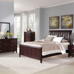 Coaster - Coventry 5Pc California King Bedroom Set in Dark Brown Finish - The Coventry bedroom collection flows with a contemporary design to create a clean and refreshing look within your bedroom. The rich dark cappuccino finish is beautifully accented by brushed nickel finish hardware. The headboard is generously padded in a durable faux leather, drawers are constructed with dove tail joints for durability.