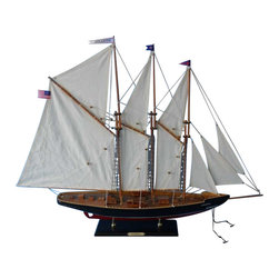 "Handcrafted Model Ships - Atlantic 35"" - Handcrafted Model Boat - Not a Model Ship Kit Ready for Immediate Display. This model sailboat is beautifully painted and made of wood. These model yachts of the famous Atlantic schooner add grace and class to the nautical decor of any room. Seated upon a shelf or mantle, the simple yet finely-crafted features and understated elegance of these wooden model sailboats subtly inspire a nautical tone and racing spirit in any office, den or living room with the delicate touch of an ocean breeze. 35"" L x 6"" W x 26"" H (1:85 scale)."
