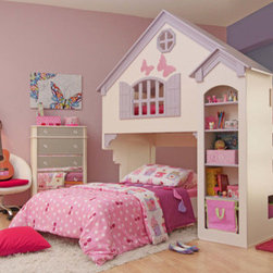 "Oeko - Amberly Dollhouse Bed - Fulfil your little one's dream of having a life-size dollhouse to play and fall asleep in. This Dollhouse allows kids a more interesting hideout and the upper loft is a cozy place to sleep in. The additional storage shelves come in handy to store kid's favorite bedtime story books and toys. Features: -Cozy Loft Bed with Additional Storage Shelves.-Distressed: No.-Mattress Included: No.-Hardware Finish: Stainless Steel.-Powder Coated Finish: No.-Gloss Finish: Yes.-Frame Material: MDF.-Solid Wood Construction: No.-Hardware Material: Stainless Steel.-Non Toxic: Yes.-Scratch Resistant: No.-Joinery Type: Screw.-Mattress Profile Maximum: 9.-Mattress Profile Minimum: 5.-Box Spring Required: No.-Slats Required: Yes.-Number of Slats Required: 15.-Slat System Included: Yes.-Number of Slats Included: 15.-Center Support Legs: No.-Bed Rails: Yes.-Recommended Age Range: Recommended for children 6 and up..-Also Suitable for Adults: Yes.-Upholstered: No.-Tufted: No.-Wingback: No.-Nailhead Trim: No.-Wood Moldings: No.-Canopy Frame: No.-Lighted Headboard: No.-Adjustable Headboard Height: No.-Adjustable Shelves: No.-Number of Cabinets: 5.-Trundle Bed Included: Yes.-Guardrails: Yes.-Hidden Storage: No.-Jewelry Compartment: No.-Attached Nightstand: No.-Media Outlet Hole: No.-Weight Capacity: 165.-Finished Back: Yes.-Swatch Available: No.Specifications: -FSC Certified: No.-EPP Compliant: No.-CPSIA or CPSC Compliant: No.-CARB Compliant: Yes.-JPMA Certified: No.-ASTM Certified: Yes.-ISTA 3A Certified: No.-PEFC Certified: No.-General Conformity Certificate: No.-Green Guard Certified : No.Dimensions: -93"" H x 86"" W x 51.5"" D.-Overall Height - Top to Bottom: 93.-Overall Width - Side to Side: 86.-Overall Depth - Front to Back: 51.5.-Overall Product Weight: 427.7.-Headboard Height Top to Bottom: 71.6.-Headboard Width Side to Side: 39.3.-Footboard Height: 62.1.-Footboard Width - Side to Side: 39.3.-Shelf Height: 52.9.-Shelf Width - Side to Side: 13.9.-Shelf Depth - Front to Back: 8.9.-Top of Headboard to Bedframe: 21.7.-Base of Headboard to Floor: 71.6.-Side Rail Length: 81.1.Assembly: -Assembly Required: Yes.-Additional Parts Required: No."