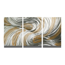 Miles Shay - Metal Wall Art Decor Abstract Contemporary Modern Sculpture- Echo Bronze 47 - This Abstract Metal Wall Art & Sculpture captures the interplay of the highlights and shadows and creates a new three dimensional sense of movement as your view it from different angles.