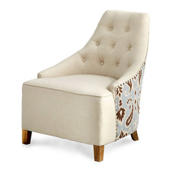 Ms. Analise Chair - Whether placed in a cozy corner of a master suite, a great room in need of additional seating for guests, or a library that calls for a comfy reading chair, the Ms. Analise Chair brings refinement and stylish form to its surroundings. The button tufted front of the chair features a soft ivory linen; the back and sides are tailored in a patterned fabric of pale blue, warm ivory, and rich umber.