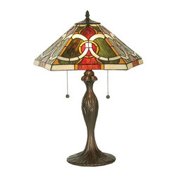 Meyda Tiffany - Moroccan Table Lamp - Requires two 60 watt medium type bulbs. Deco tiffany arts and crafts nouveau style. Unique and handcrafted. Shade: 18 in. W x 7 in. H. Overall: 18 in. W x 22.5 in. H (48 lbs.). Care InstructionsNatural variations, in the wide array of materials that use to create each product, make every item a masterpiece of its own.