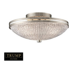 """Elk Lighting - Elk Lighting New York Transitional Semi Flush Mount Ceiling Light X-3/70013 - Taking Styling Cues From The Art Deco Period, The Trump Home&trade: New York Collection Features Clean Lines And Unique Design Elements.  The Lights Are Supported By Rings That Gracefully """"Float"""" Around A Larger Double Ring.  Finished In Renaissance Silver Leaf With Cream Fabric Shades, This Series Is Versatile And Contemporary.  Shades Are Optional On Items With Crystal."""