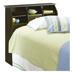 Sauder - Sauder Shoal Creek Twin Headboard in Jamocha Wood - Sauder - Headboards - 409943 - Contemporary meets rustic in this headboard from the Sauder Shoal Creek collection. This piece does double duty: it functions as both a headboard and a spacious display area for your alarm clock, bedtime story books, and other decorative items.