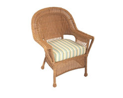 Trade Wind Treasures - Lake Living Outdoor Lounge Chair - Includes standard outdoor seat cushion. All weather dining chair. Welded aluminum frame. Covered in hand woven UV protected extruded vinyl. Outside width: 31 in.. Inside arms: 21 in.. Seat size: 21 in. L x 20 in. W. Warranty