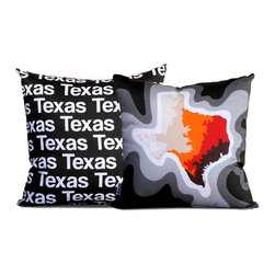 "Cartoloji - Texas Map Pillow, Charcoal - The pillow features a topographical map of the state on the front and the state name text on the reverse. Pillow cover is made from 100%  certified organic cotton sateen and is printed with eco-friendly inks. Pillow insert is a non-allergenic faux-down poly-fill. Pillow dimensions: 17"" x 17"". Hand wash or dry clean. Made in the USA. Listing is for 1 double sided pillow."