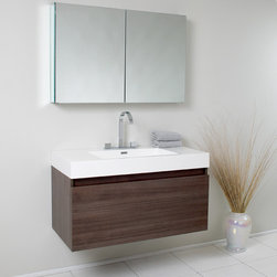 Fresca - Fresca Mezzo Gray Oak Modern Bathroom Vanity w/ Medicine Cabinet - The strikingly modern design of the Fresca Mezzo Modern Bathroom Vanity, model FVN8010GO, enhances any powder room. Featuring Blum storage systems, this wall-mounted bathroom vanity has two drawers and a mirror-fronted medicine cabinet, offering ample storage. A grey oak finish, chrome-finished faucet and integrated sink combine to make a bold statement in any space.