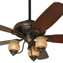 Hunter Fan - Hunter Torrence 64-inch Ceiling Fan with Provence Crackle Finish and Five Mahoga - A timeless classsic that does not follow the trends,the Torrence ceiling fan is a model of enduring style with a Provence crackle finish and rich amber glass. It features an integrated 42-watt 3-light fixture and dual armour blade coating.