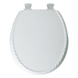 Bemis Mfg - Toilet Seat Rnd Molded White Rpe - Premium sculptured wood seat with rope design. Twist hinges to remove seat for easy cleaning and replacement, sculptured design, superior high-gloss finish resists chipping and scratching. Fits all manufacturers' round bowls. For residential use only.        ROUND RIM With ROPE DESIGN LID    Color=White