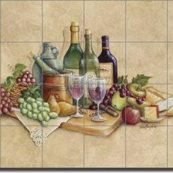 "Artwork On Tile - Broughton Wine Grapes Ceramic Tile Mural Backsplash 25.5"" x 17"" - EC-RB001 - * 25.5"" w x 17"" h x .25"" Ceramic Tile Mural on Architectural Grade, 4.25"" Tile w/Satin Finish"