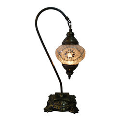 Jay Bazaar - Elegant Mosaic Lamp - Silver Swan - Authentic Desk Lamp , Moroccan Style Lamp , Night Lamp, Exotic Lamp