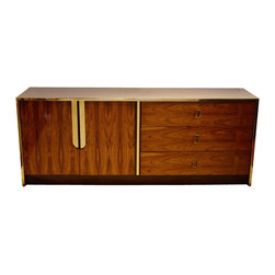 Mid Century Rosewood Veneer Dresser/Credenza w/ Lacquered Top Chrome Hardware - Dimensions: L 72''  × W 18''  × H 29''