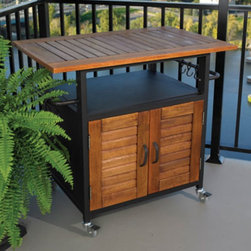 Rolling Outdoor Cabinet for Table Top Grills - This table was made for tabletop grills but could have multiple applications. Store your propane underneath so you don't have to look at the ugly tank or use the table as an outdoor bar and store bar items below. It has casters so can roll where you need it.